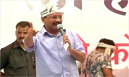 Kejriwal demands Delhi re-polls in AAP rally !